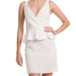 NEW NWT Trina Turk White Detail Dress Peplum